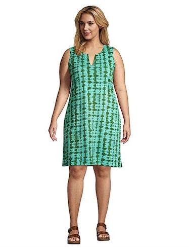 Lands' End Cotton Jersey Sleeveless Shift Dress