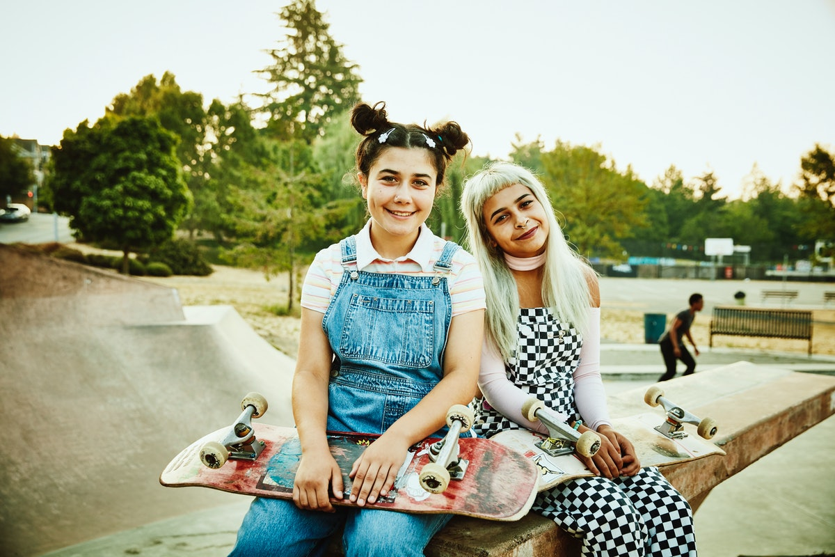 2 smiling friends sitting on ramp in a skate park, taking a pic before posting funny birthday captio...