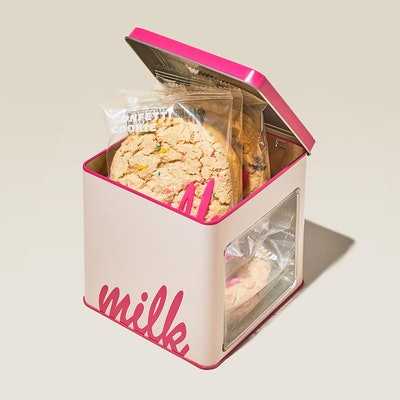 a square tin of six cookies from Milk Bar