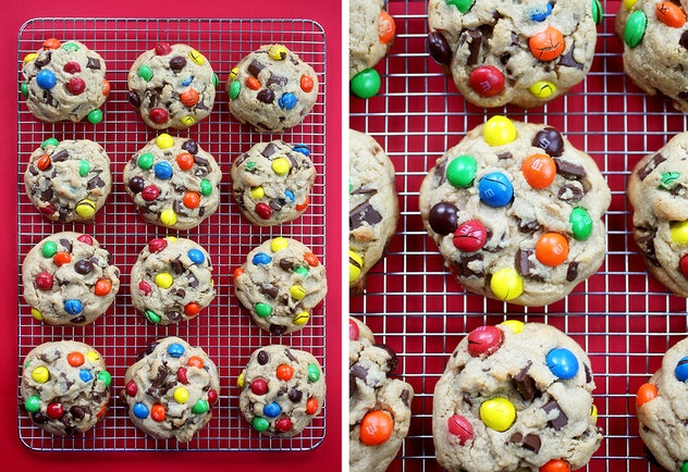 peanut butter cookies with peanut butter m&ms