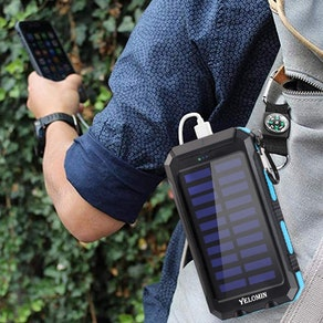 YELOMIN Portable Solar Power Bank with Flashlight and Compass