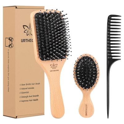 URTHEONE Boar Bristle Hair Brush and Comb Set