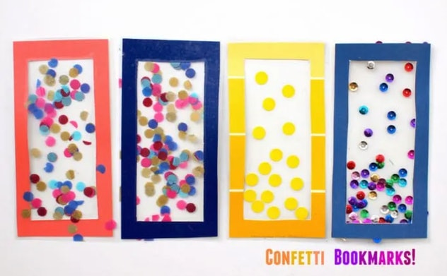 Confetti bookmarks are an easy DIY construction paper craft to make with kids.