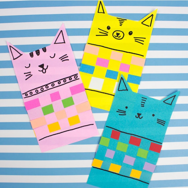Woven paper cats are a fun construction paper craft to make with kids.