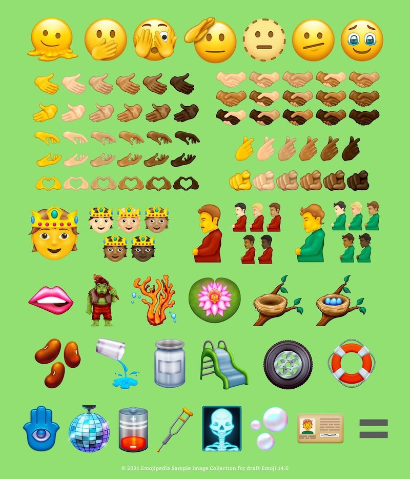 A screenshot of new 2021 emojis. The new 2021 emojis were announced by the unicode consortium on jul...