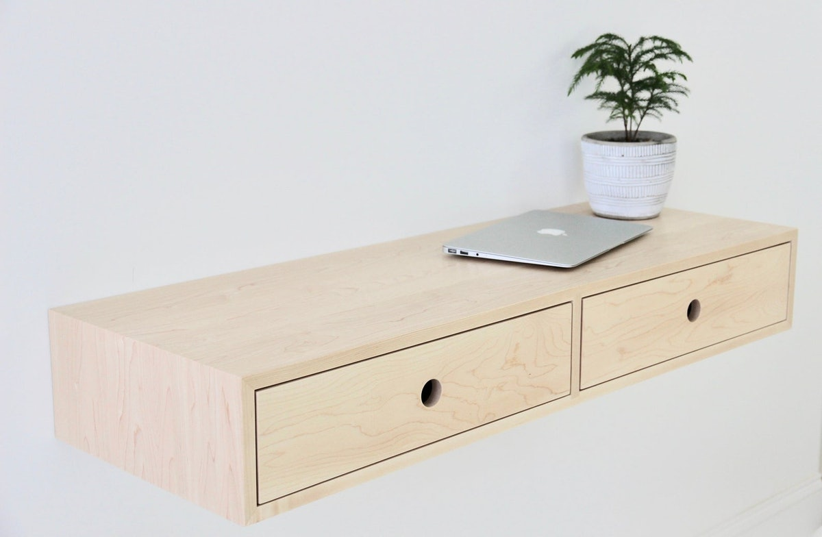 Floating Desk in Solid Maple