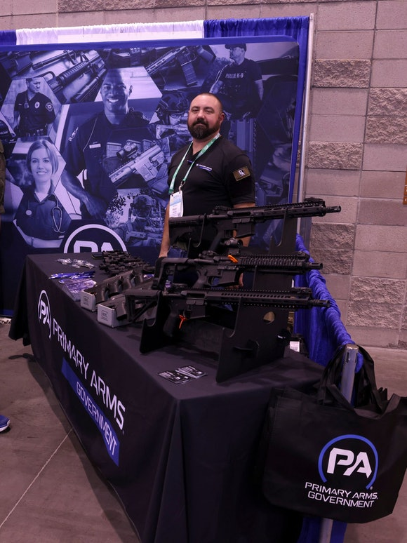 A gun booth at the National Sheriffs' Association Convention in Phoenix 2021