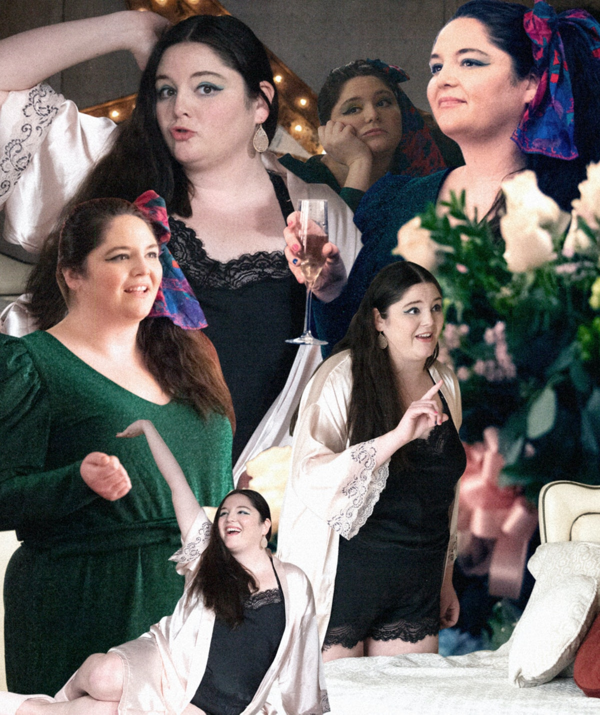 collage of meg stalter in character