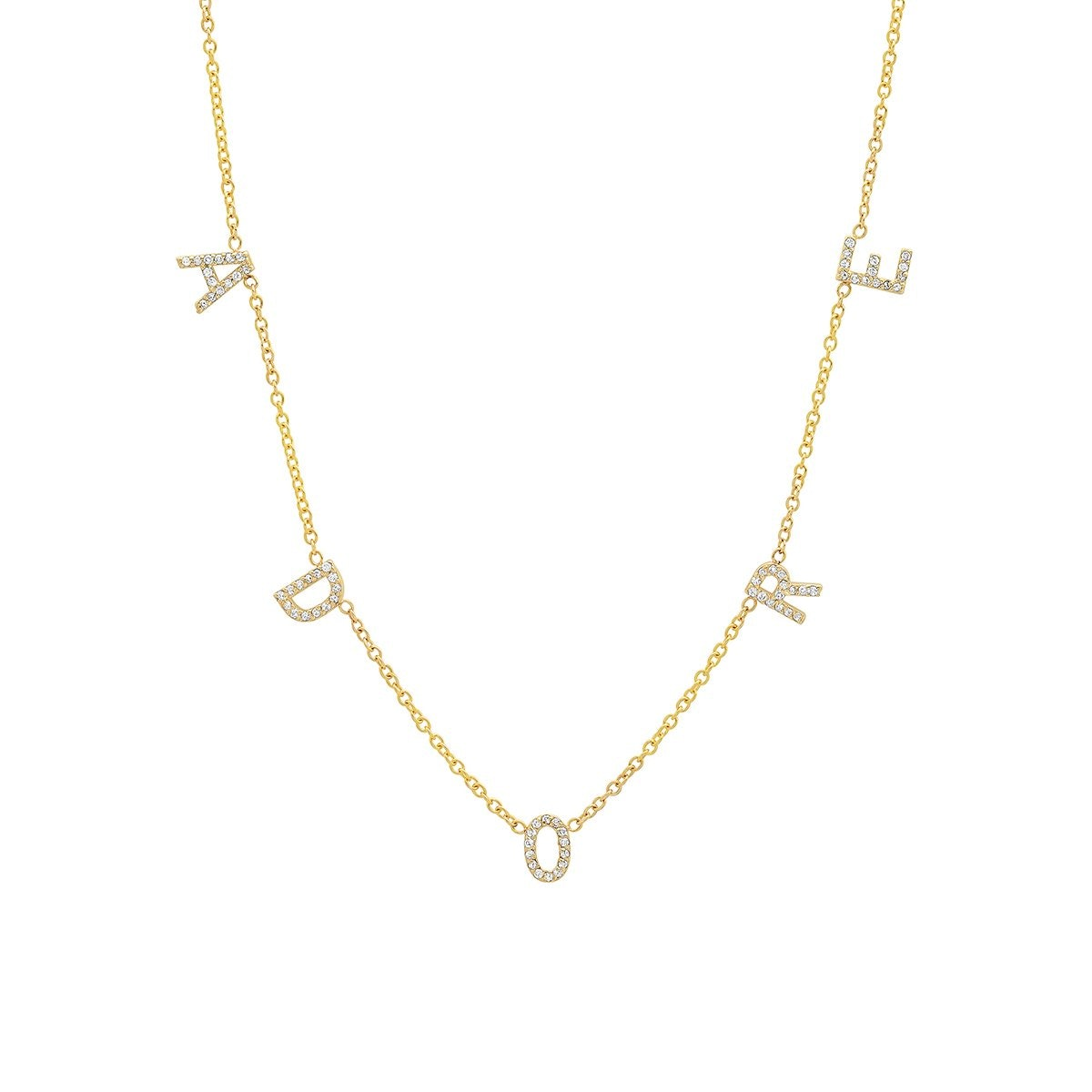 Original Diamond Spaced Letter Necklace from BYCHARI.