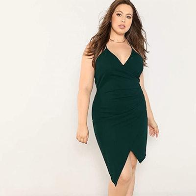 Milumia Plus-Size Asymmetrical Wrap Cami Dress