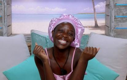 Kaz in her bonnet on 'Love Island'.