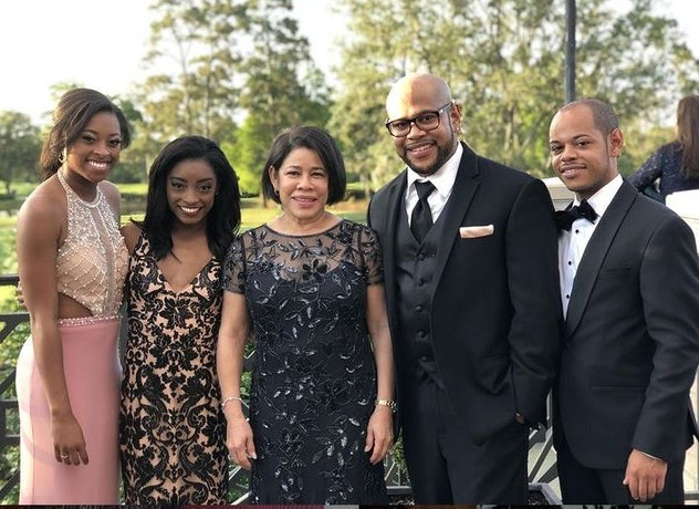 Simone with her sister, Adria, mother Nellie and brothers Adam and Ron.