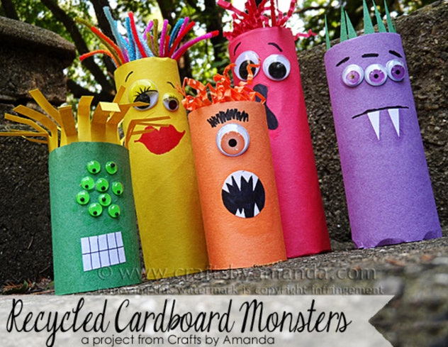 Make these fun cardboard tube monster crafts from construction paper.