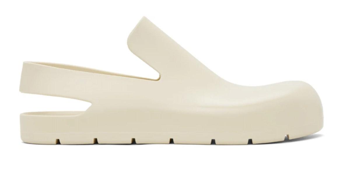 Bottega Veneta's white rubber slingback slippers.