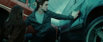 Edward stops the truck from hitting Bella in a scene from 'Twilight' with quotes you should use as I...