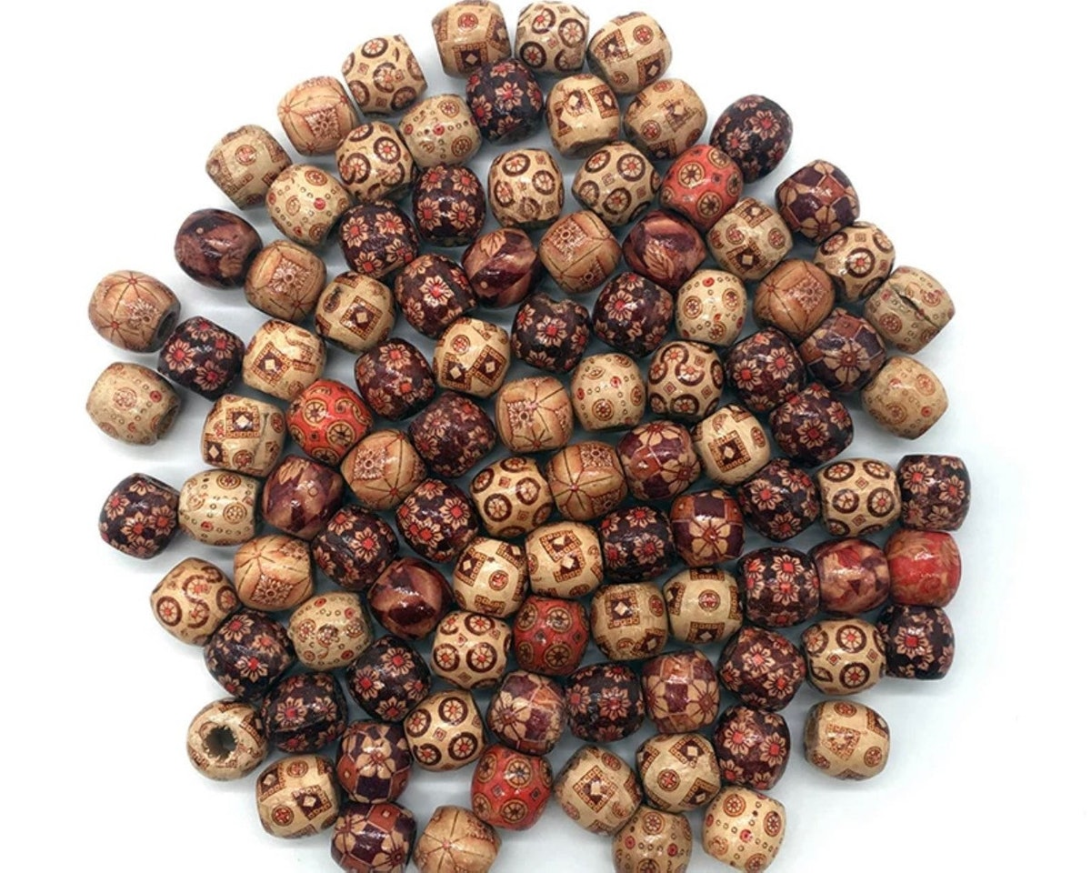 17mm Big Size Hole Wooden Hair Beads (30-Piece)