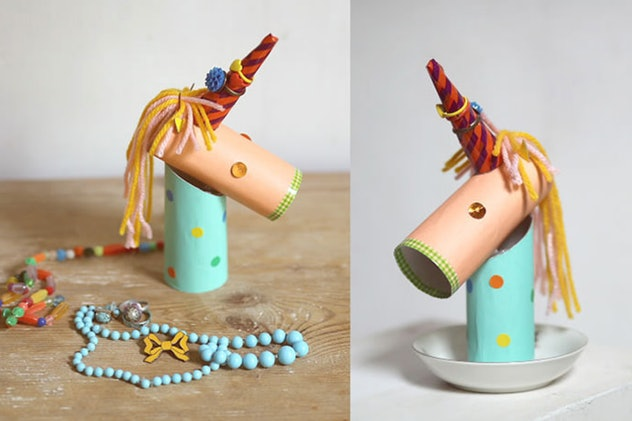 A unicorn ring holder is a fun construction paper craft to make.
