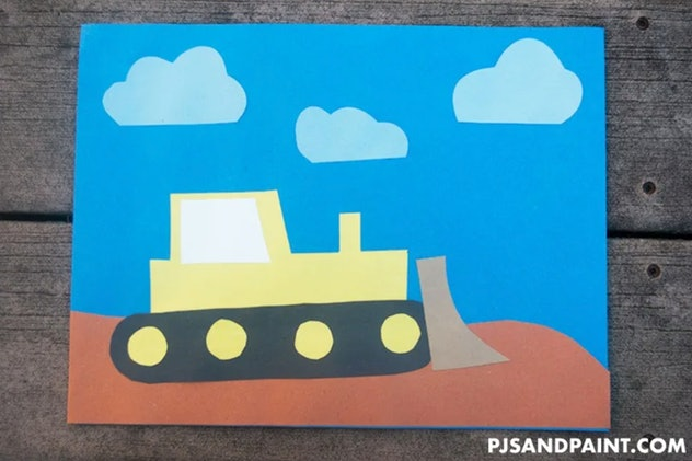 A paper bulldozer is a fun construction paper craft to make.