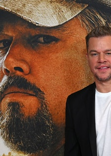 Matt Damon poses in front of photo of Matt Damon.