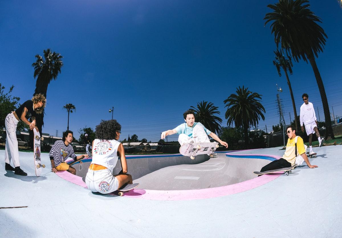 Skaters Alek Midler, Boo Johnson, Briana King, and Nico Hirage model Guess' 2021 Summer Games capsul...