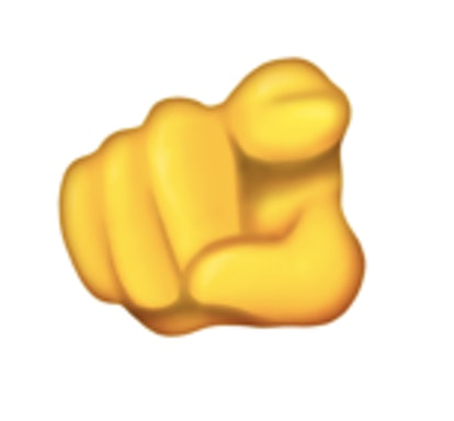An index finger pointing at the recipient is one of the new 2021 emojis.