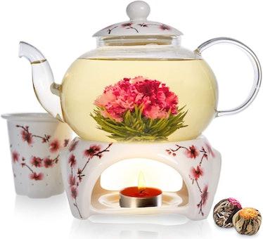Teabloom Cherry Blossom Teapot & Flowering Tea Gift Set (6 Pieces)