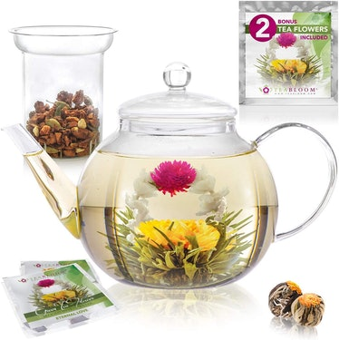 Teabloom Stovetop & Microwave Safe Glass Teapot (4 Pieces)
