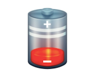 A low battery icon is one of the new 2021 emojis.