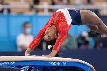 Simone Biles of United States of America competing on Women's Team Final during the Tokyo 2020 Olymp...