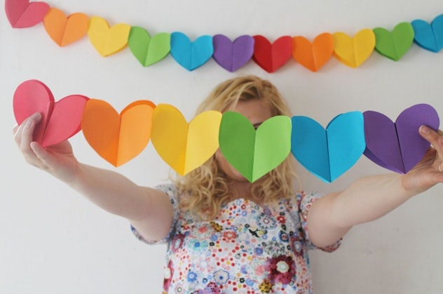 This paper heart garland is a colorful construction paper craft to make.