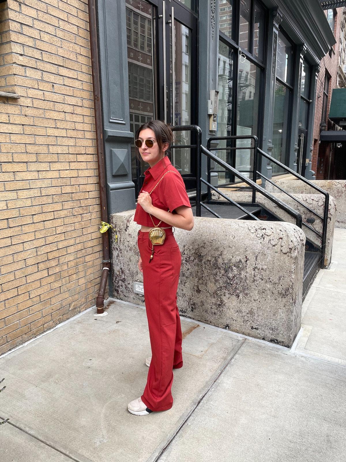 Maggie Haddad carrying a Loewe bag.
