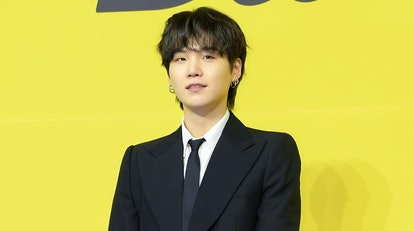 SEOUL, SOUTH KOREA - MAY 21: Suga of BTS attends a press conference for BTS's new digital single 'Bu...
