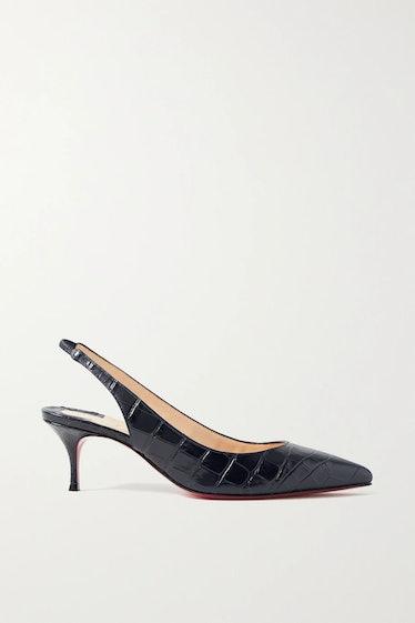 Kate 55 Croc-Effect Leather Slingback Pumps