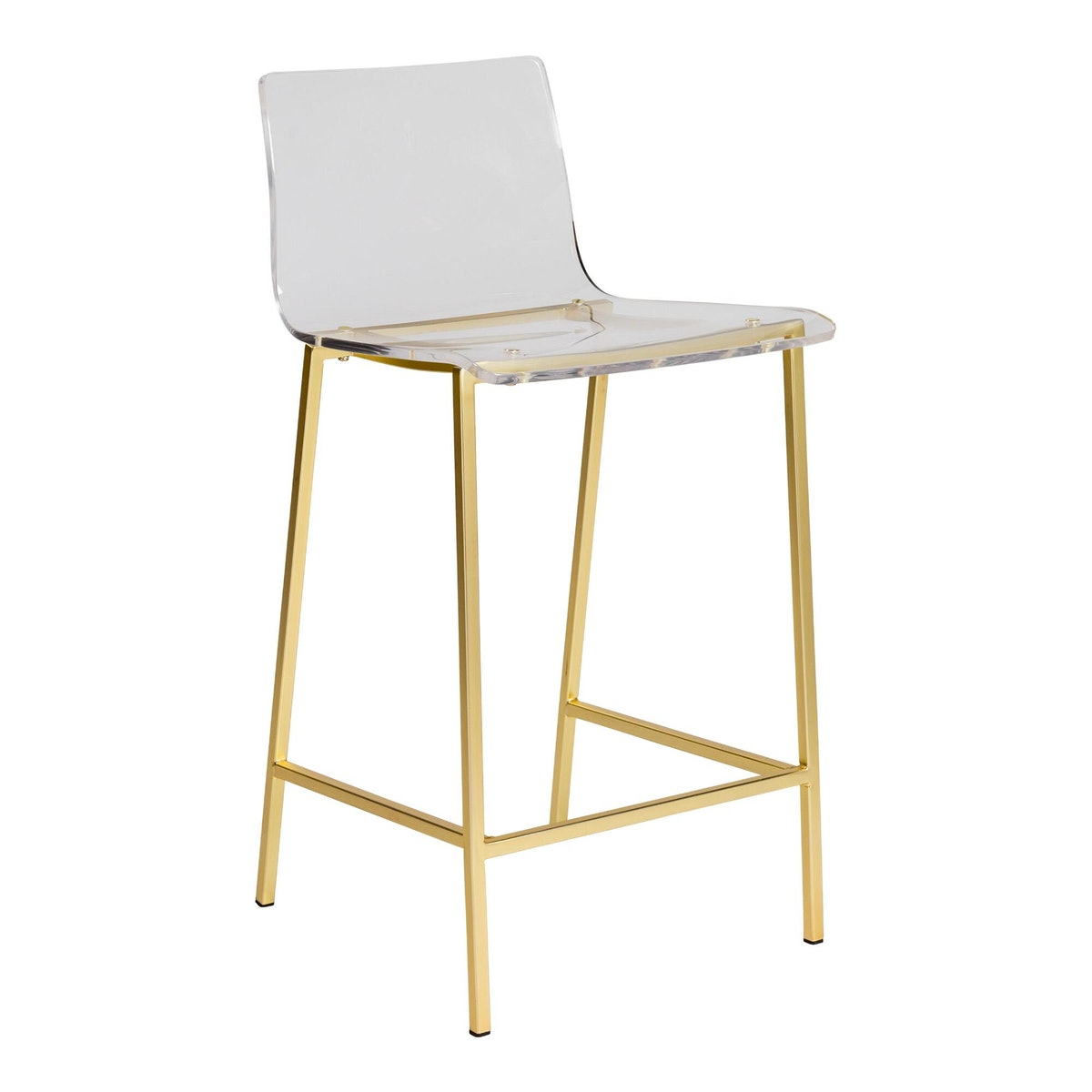 Clear Acrylic And Gold Morris Counter Stools Set Of 2
