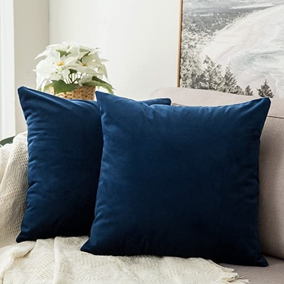 MIULEE Velvet Soft Solid Decorative Square Throw Pillow Covers (2-Pack)