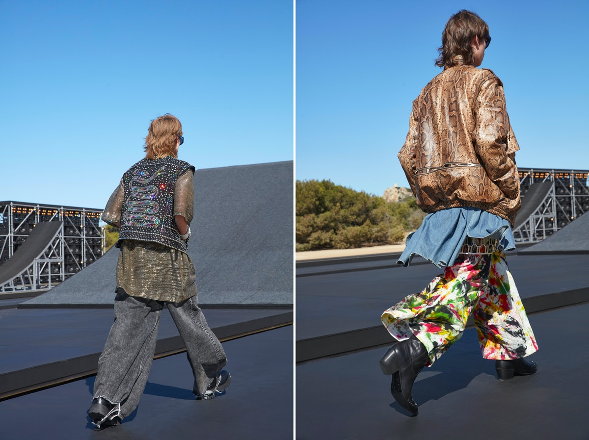 Two models wearing baggy Celine Homme pants designed by Hedi Slimane