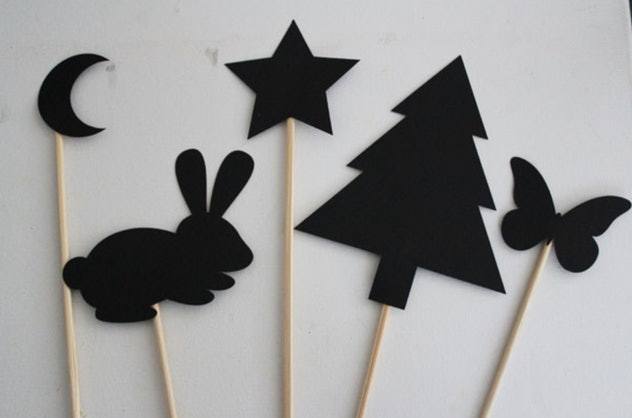 Shadow puppets are an easy construction paper craft to make.