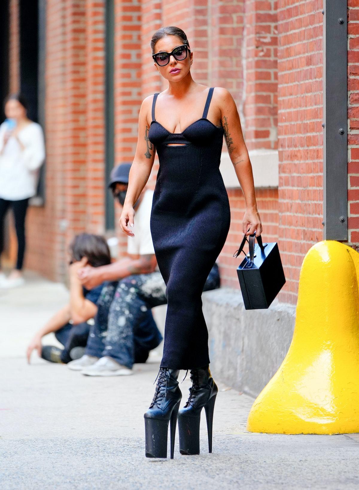 Lady Gaga wearing towering platform stilettos