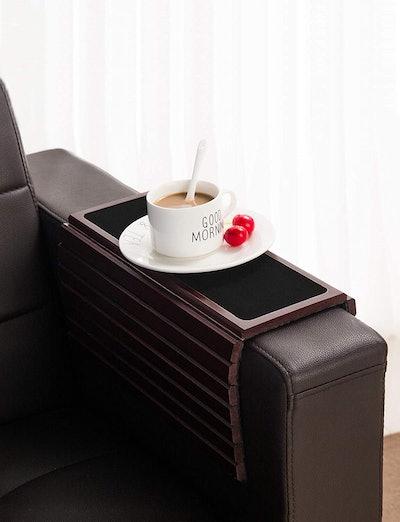 GEHE Bamboo Wood Sofa Arm Tray Table