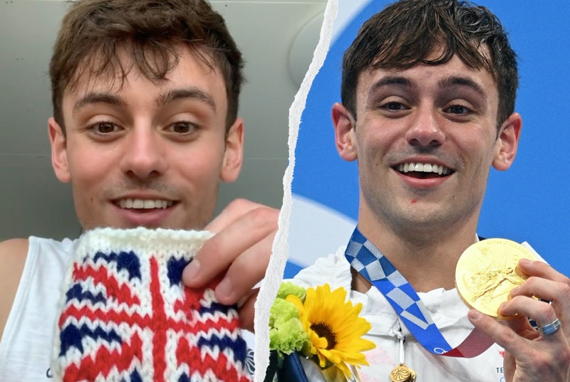 """Tom Daley shows off his hand-knitted """"cosy"""" for his Olympic gold medal."""