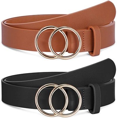 SANNSTHS Faux Leather Double O-Ring Belts (2-Pack)