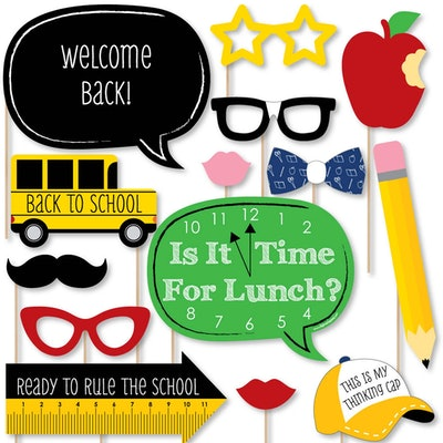 Classic Back to School - First Day of School Decorations and Photo Booth Props Kit - 20 Count