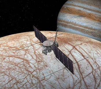 An artist's impression of the Europa Clipper at Jupiter's icy moon.