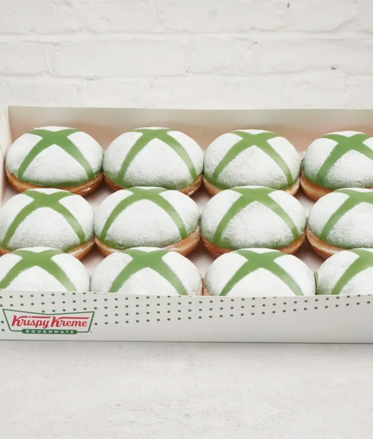 Xbox themed doughnuts being sold by Krispy Kreme. Gaming. Food. Donuts. Baked goods