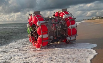 """Resembling a blown-up hamster wheel, Baluchi hopes his """"bubble"""" will help him traverse the open ocea..."""