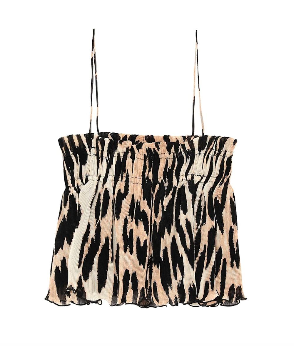 Leopard-Print Pleated Georgette Crop Top