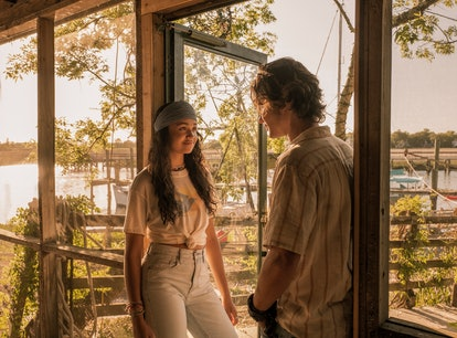 John B and Kiara from the 'Outer Banks' on the front porch of a home in South Carolina.