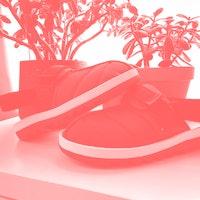 Wearing Reebok's Beatnik Sandal: A flashy mule shoe that belongs at home