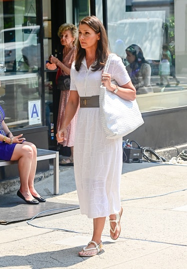 Bridget Moynahan on the set of And Just Like That
