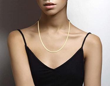 Miabella 18K Gold Over Sterling Silver Flat Herringbone Chain